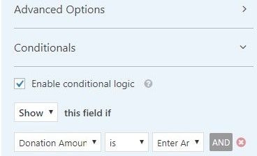 advanced options WPForms