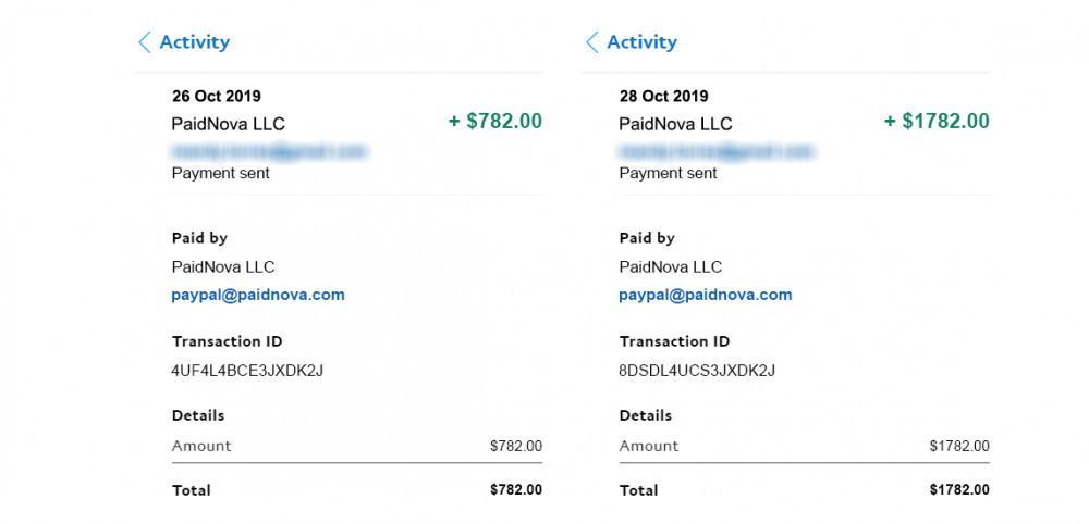 PaidNova proof of payment screenshot