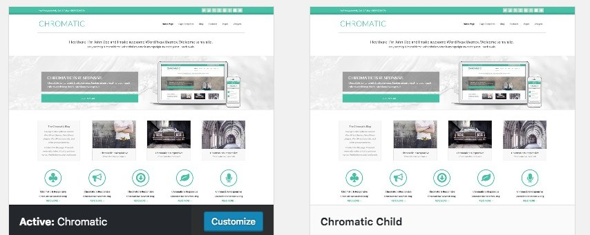 Parent and child theme in WordPress dashboard