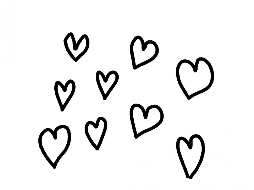 hearts drawn with pencil tool