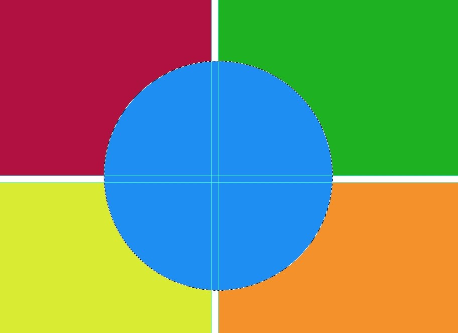 blue circle in colorful square