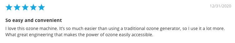 10 Second Machine Ozone Water System - Testimonial