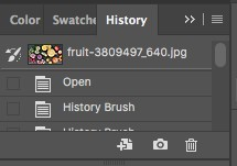 using the history brush tool in the history tab