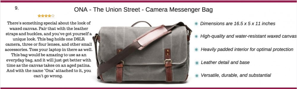 ONA - the union street camera messenger bag