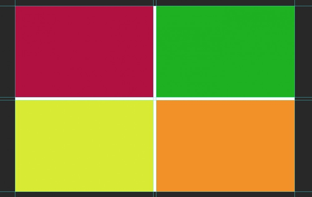 four different colored squares in photoshop