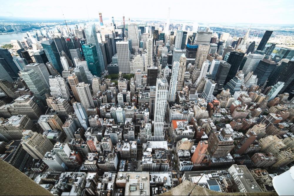 fisheye view of city