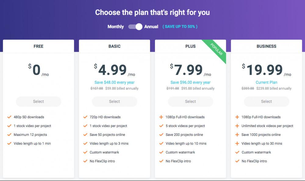 FlexClip Video Maker Review - Pricing Plans