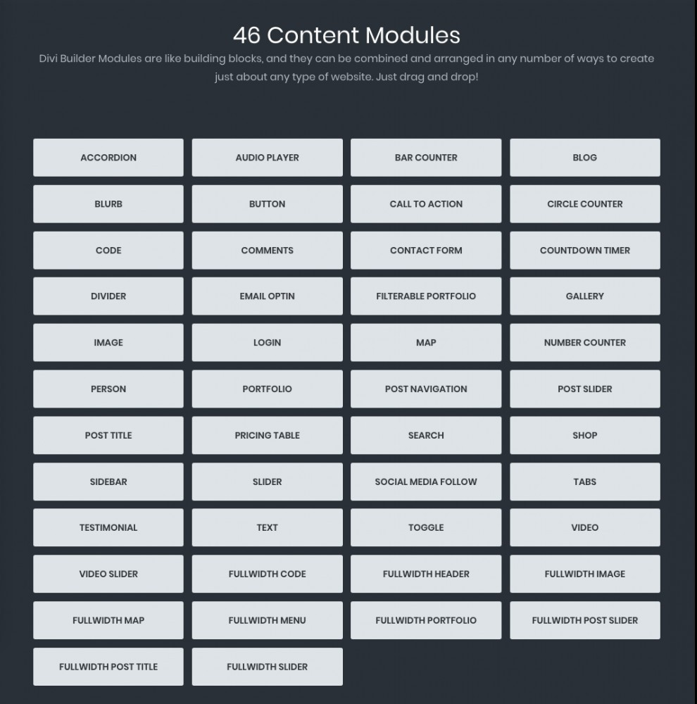 Divi builder content modules