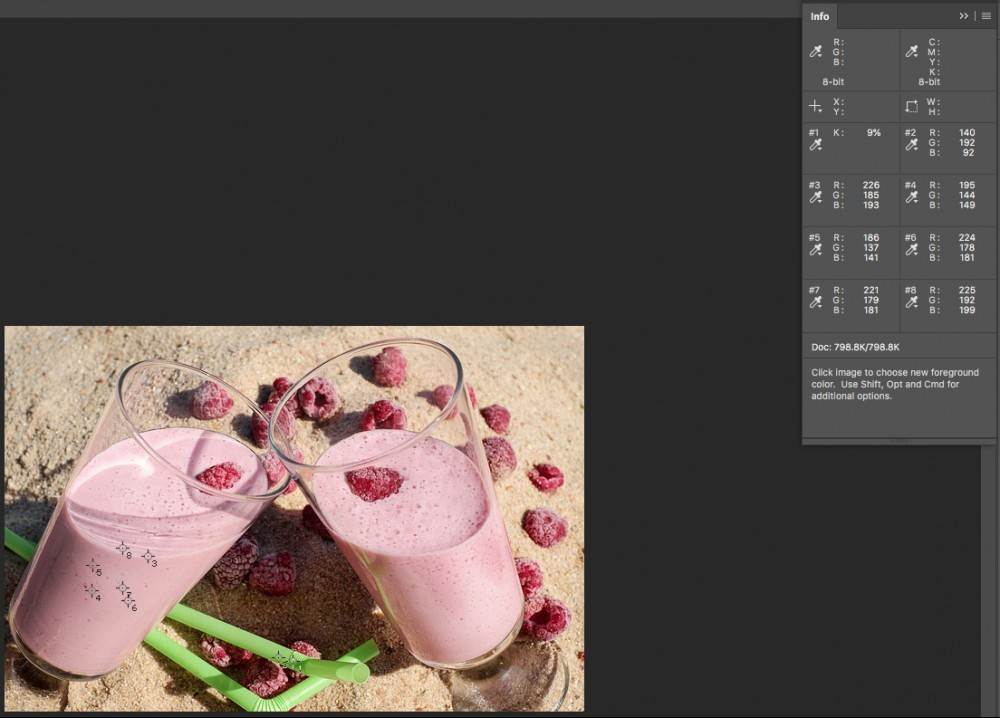 six point samples in eyedropper tool