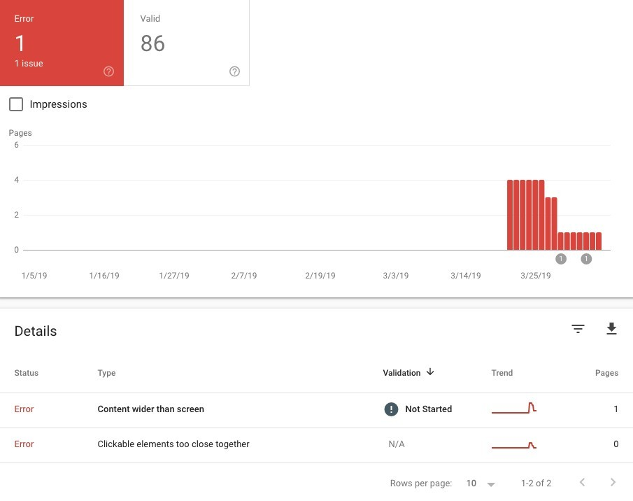 mobile usability tab in google search console