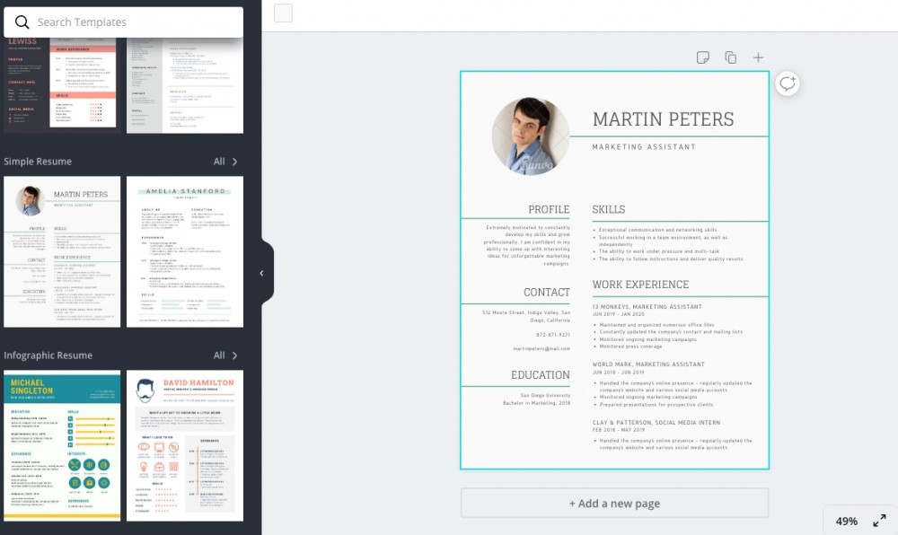 resume template in canva