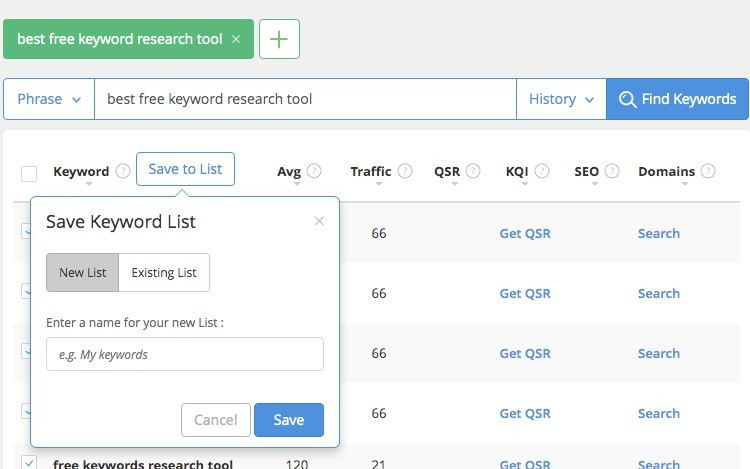 Keyword Research Tools For SEO - Saving Lists In Jaaxy