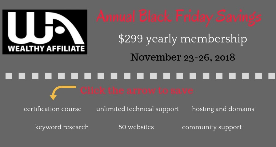 Wealthy Affiliate black friday savings banners