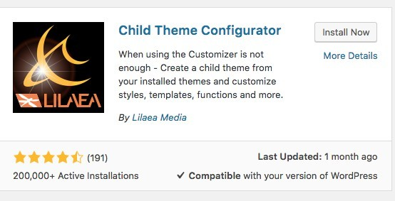 picture of child theme configurator