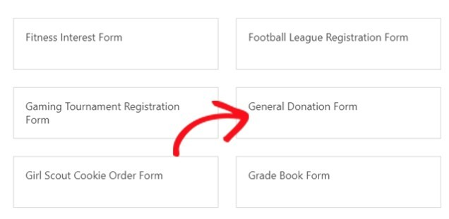 general donation form option
