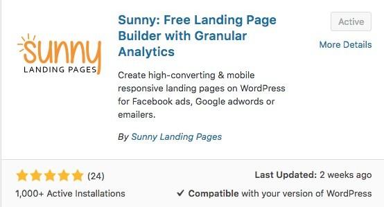 Sunny landing page plugin