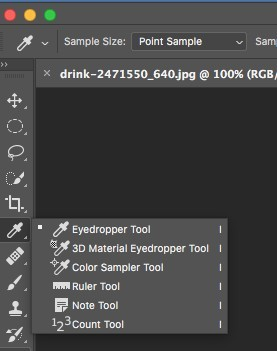 eyedropper tool in Photoshop toolbar