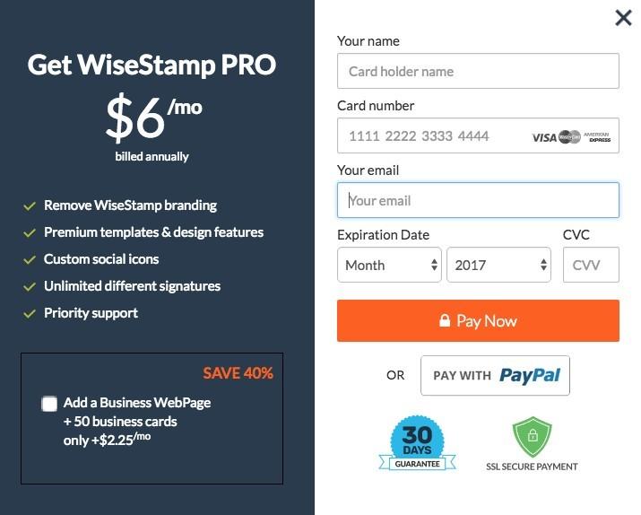 Wisestamp upgrade to Pro
