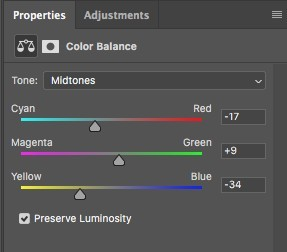 color balance in Photoshop