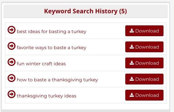 keyword search history Pinterest keyword tool