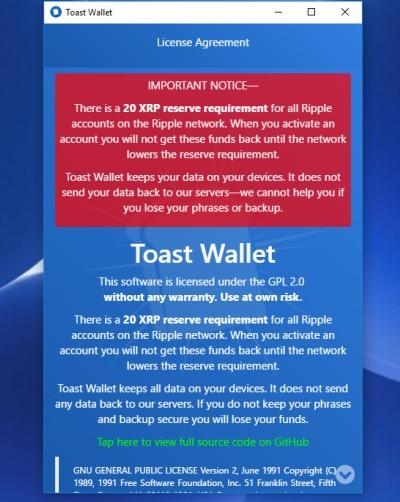 Toast Wallet Agreement
