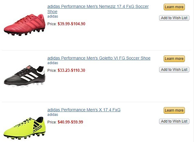 Three more Adidas soccer shoes