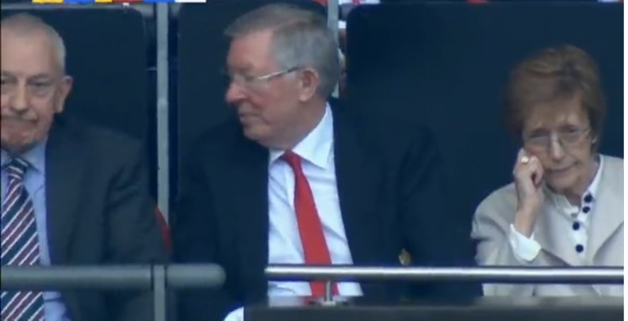 Sir Alex Ferguson (in the middle) at a FA cup Semi-final match between Manchester United and Tottenham Hot Spurs