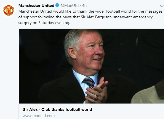 A Tweet made by Manchester United FC showing a picture of the manager when he was much healthier at a football match. In this tweet, the club expresses it gratitude to the football world for its support of Sir Alex's recovery