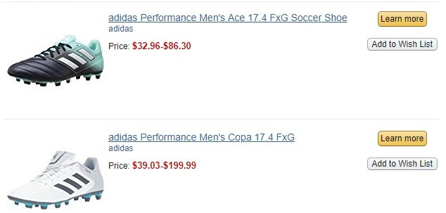A list of two Adidas soccer shoes
