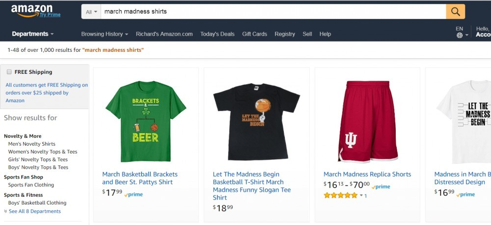 Amazon.com March Madness Apparel