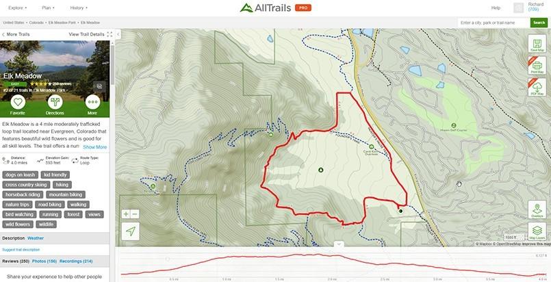 AllTrails Map View of Elk Meadow