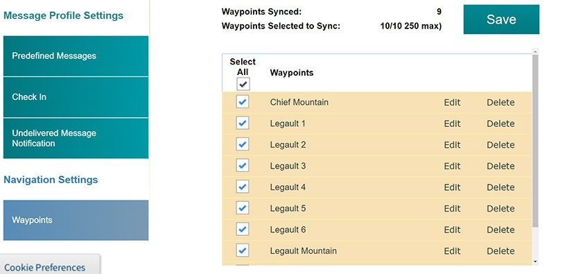 SPOT Website | Saved Waypoints