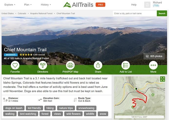 AllTrails Colorado | Chief Mountain Trail