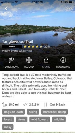 AllTrails App - Tanglewood Trail