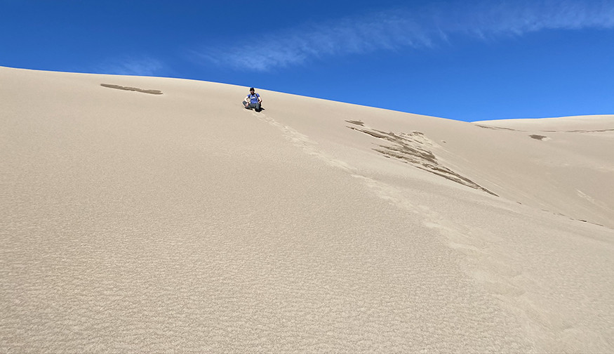 Steep section on the sand dunes