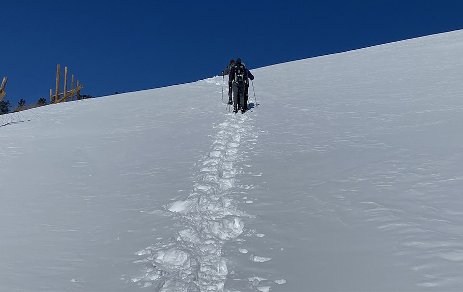 Snowshoeing Up a Steep Hill