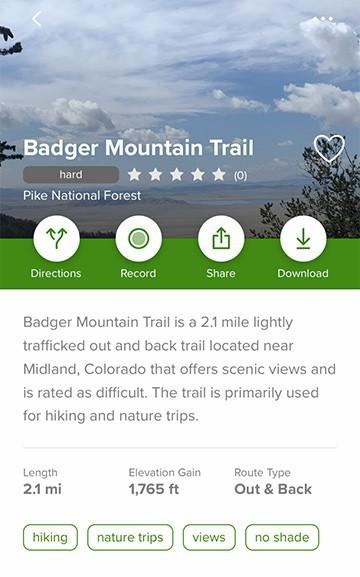 AllTrails App Map | Badger Mountain Trail