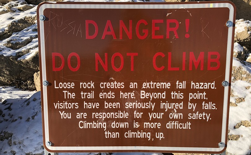Castle Rock Trail Warning Sign