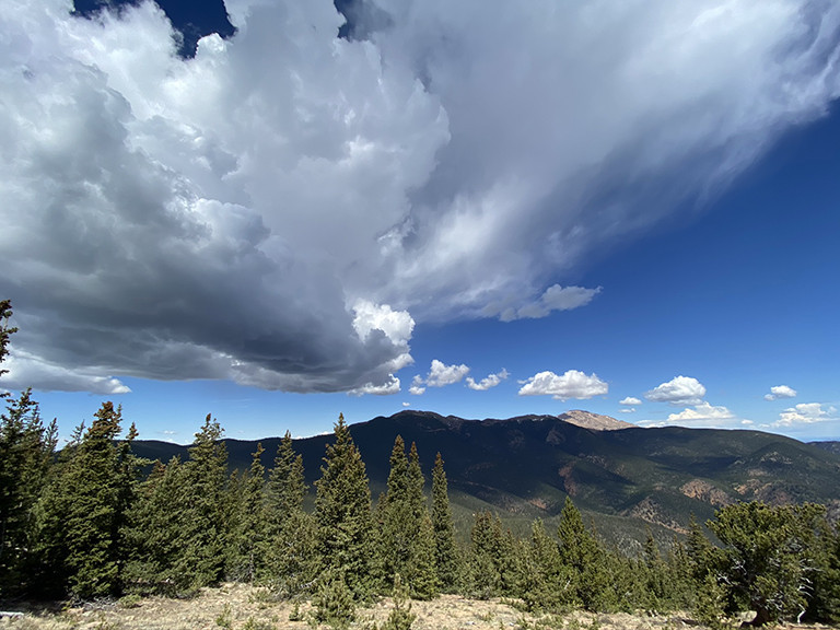 Thunderstorm forming over Pikes Peak