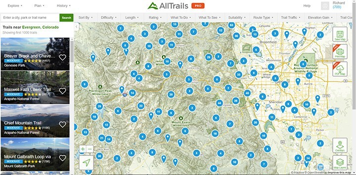 AllTrails Colorado Map