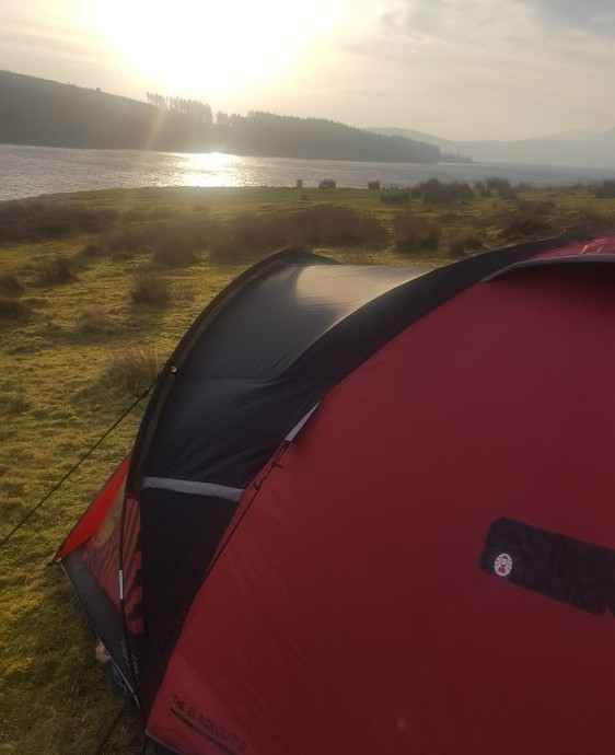 coleman festival tent pitched at loch doon