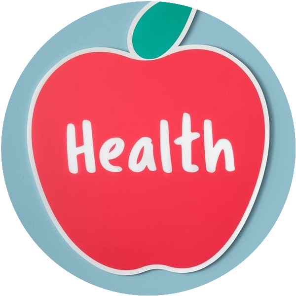 apple with word health on it