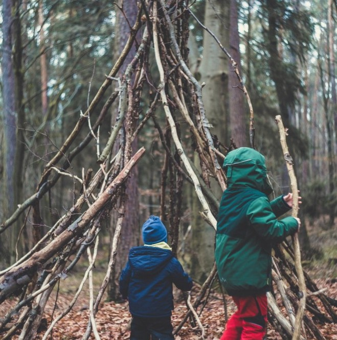 Children Making a Den in the Woods