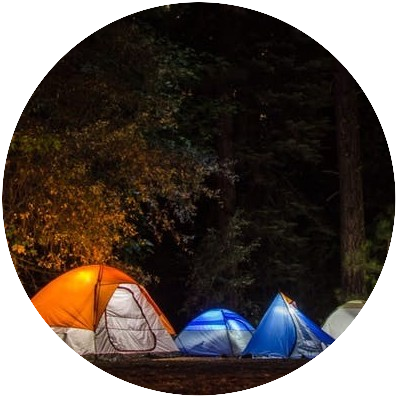 Lit Tents at Night