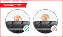 The penny test for proper tire tread