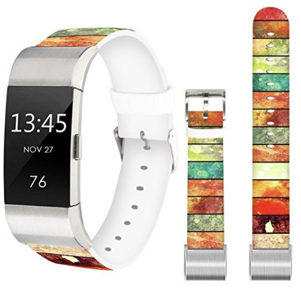 Printed Leather Fitbit Charge 2 Band
