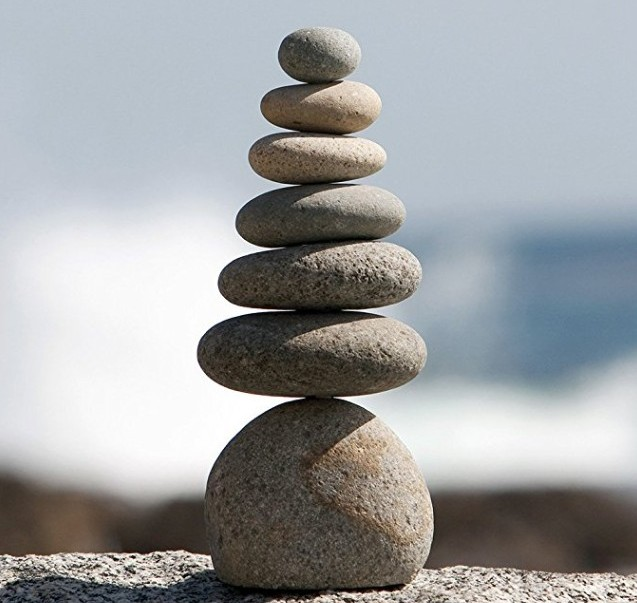 Septuple Natural River Stone Cairn