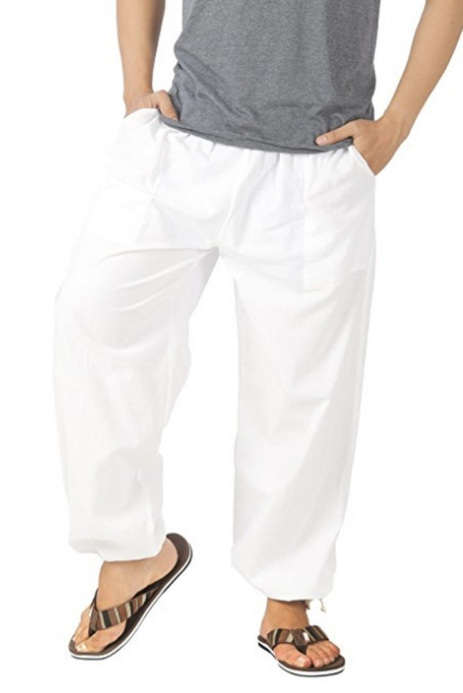 CandyHusky Men's Cotton White Yoga Pants