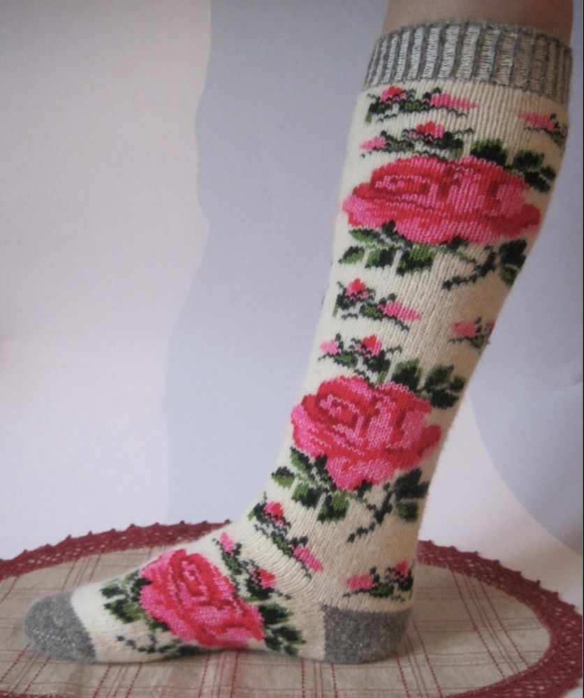 KnittedWarmGifts Rose Angora Leg Warmers