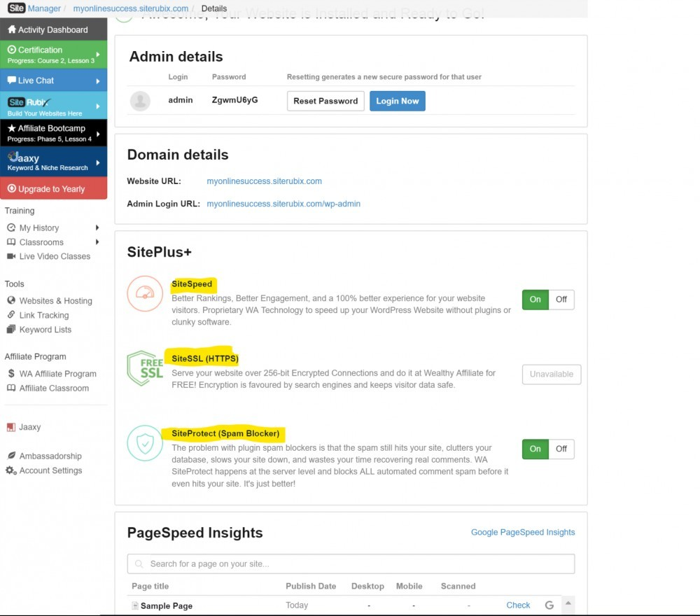 screen shot of wordpress
